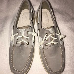 Sperry leather gray boat shoes